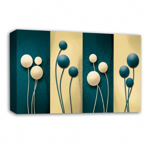Floral Abstract Wall Art Picture Cream Teal Grey Flower Print